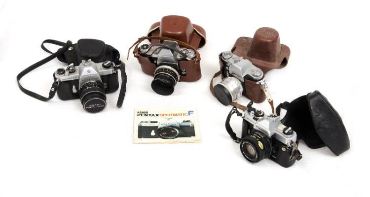 4 Var Older SLR Cameras.  Incl. Practika IV F; Zenit 3M; Fujika STX-1N; & Pentax Spotmatic F with booklet.