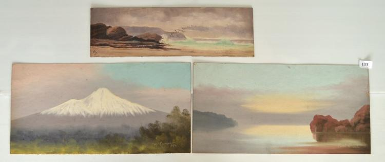 3 Var Landscapes c1910. 'Mt Egmont,' & 'East C,' both initialled JRL; & Seascape with Gulls, initialled VS. 26x51cm (2) & 14x46cm