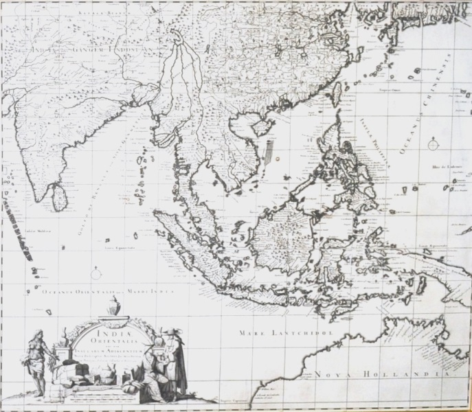MAP, 'Indiae Orientalis,' DANCKERTS.  Theodore DANCKERTS (1663-1729) 'Indiae Orientalis nec non Insularum Adiacentum,' c1685.Engraving52x62cm