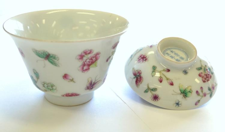 Early Chinese Porcelain 2 Pce Cup & Lid.  Floral & butterfly decoration. Character mark to lid & cup.