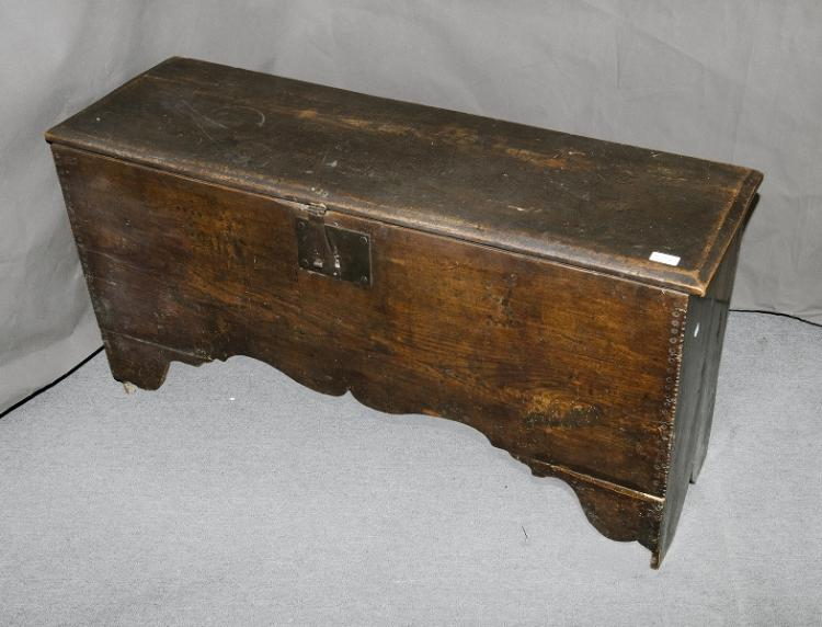 Early Scottish Oak Dowry Chest. Front decorated with initials. Possibly 18th C.