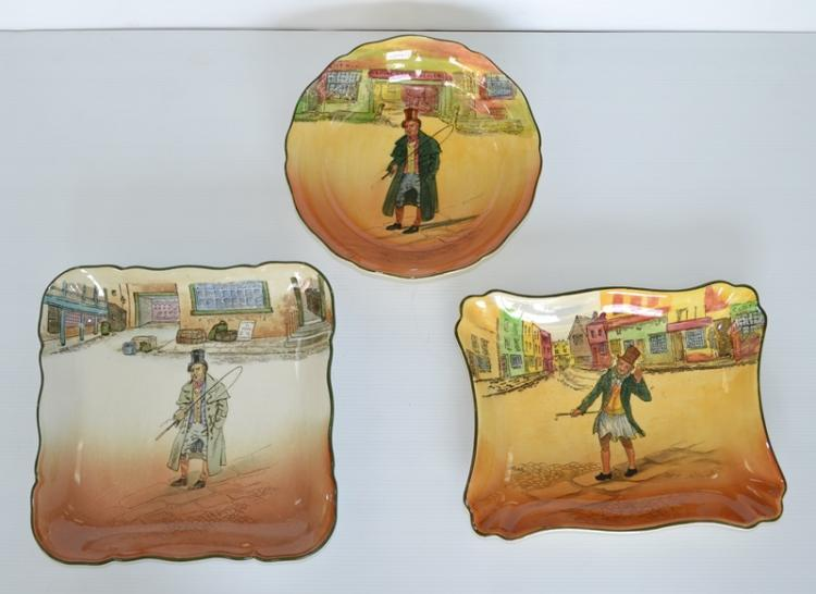 3 Var Royal Doulton Serial Ware Plates.  Incl. Dickens Ware, Barkis (2) & Trolly Veck.