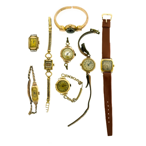 6 Var Gold Cased Ladies Vintage Watches etc.