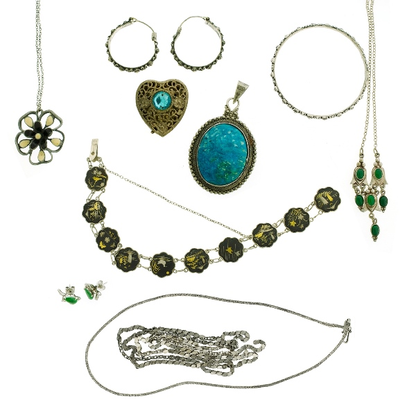 12 Var Silver Jewellery Items. Incl. 4 various necklaces; bangle; locket; pr's earrings; bracelet; & pendant.