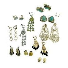 10 Var Pr's Costume Jewellery Earrings.  Most stone set in silver.