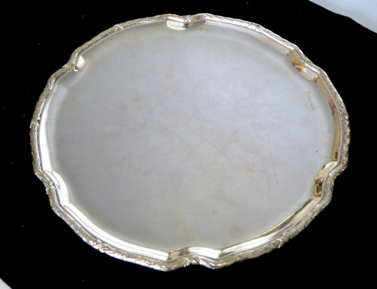 French Silver Salver. Marked for 800.