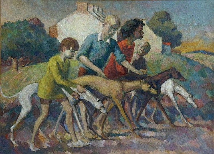 SANTRY, T John (1910-1990) Walking the Greyhounds