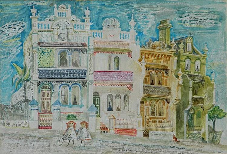 FLOWER, Cedric (1920-2000) Street Scene with