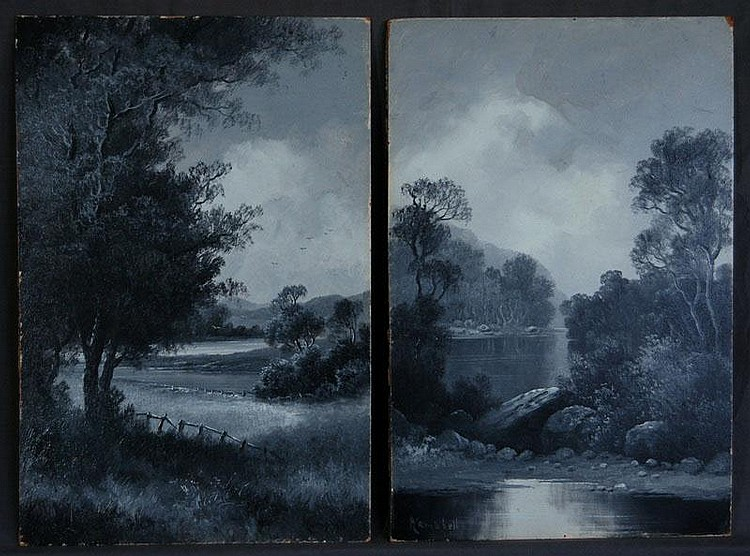 CAMPBELL, Percy (2) 2 Lake & River Scenes in