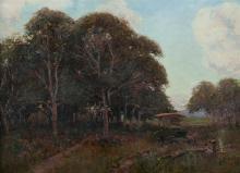 REID David G (c1861-1933), 'At Close of Day,' 1904., Oil on Panel, 29.5x43.5cm