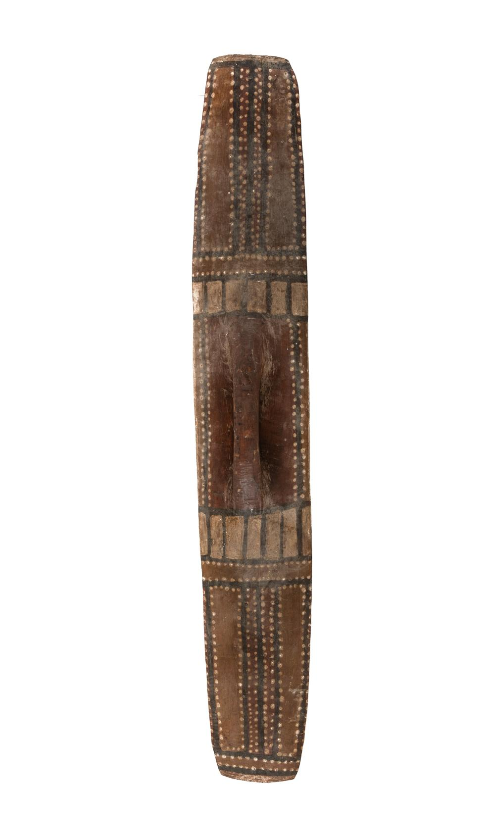 Western Australian Aboriginal Shield. Decorated with natural earth pigments. (H88cm) PROVENANCE: Estate of Ray Hughes.
