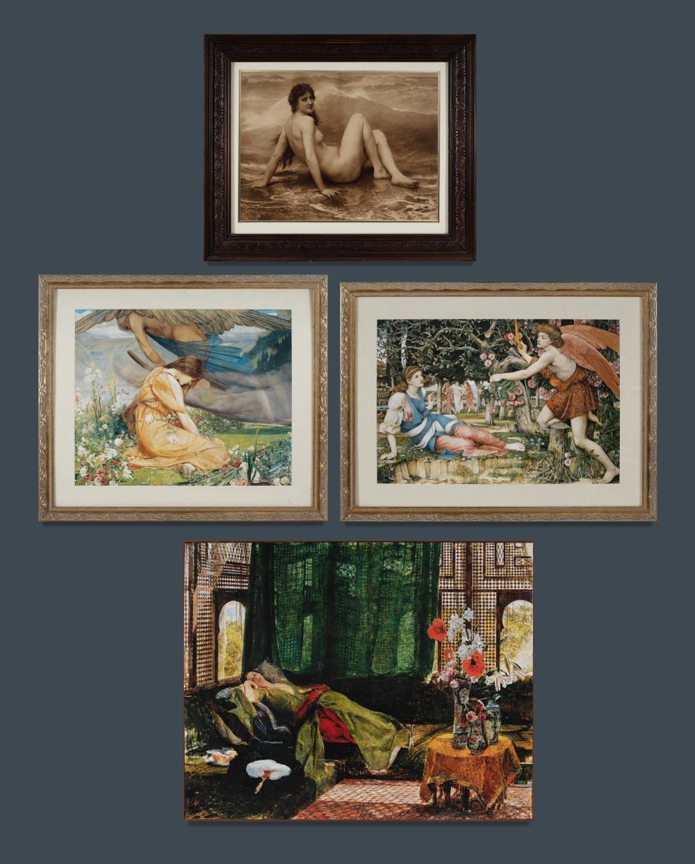 4 Various Prints. Including nude after BOUGUEREAU, J D BATTEN, Spencer STANHOPE etc. 53.5x64cm (Bouguereau, overall) PROVENAN...