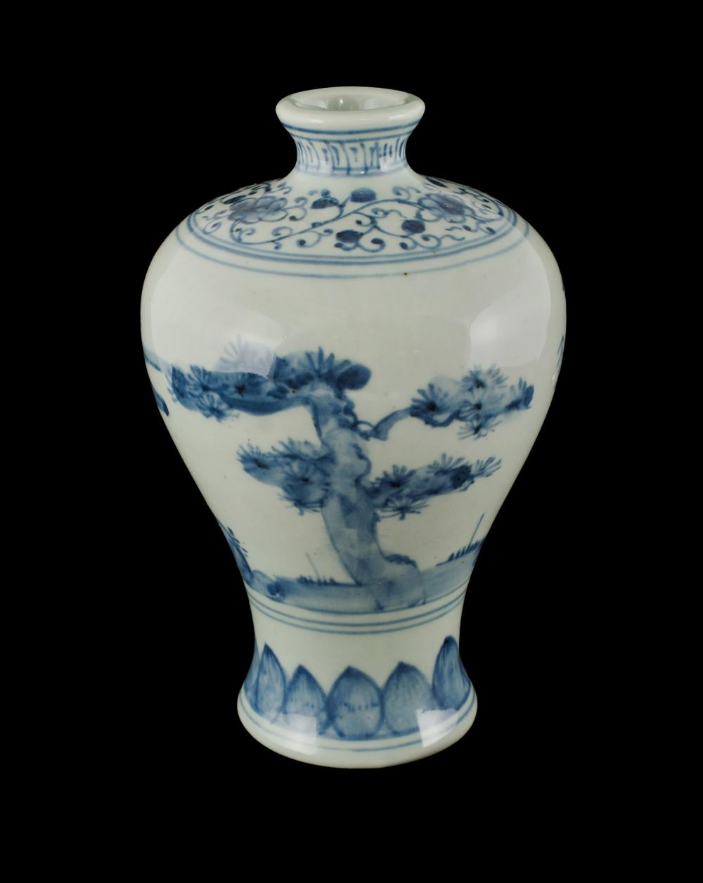 Chinese Blue & White Meiping Vase. Underglaze blue decoration of the 'Three Friends of Winter.' Four character period mark to ba...