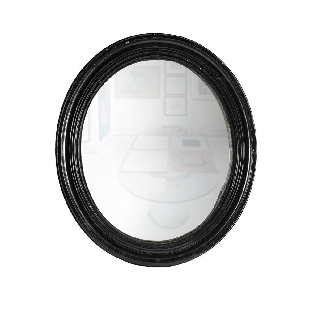 Victorian Oval Convex Mirror. Moulded frame with later black paint. (69x59cm) PROVENANCE: Estate Late John Schaeffer.