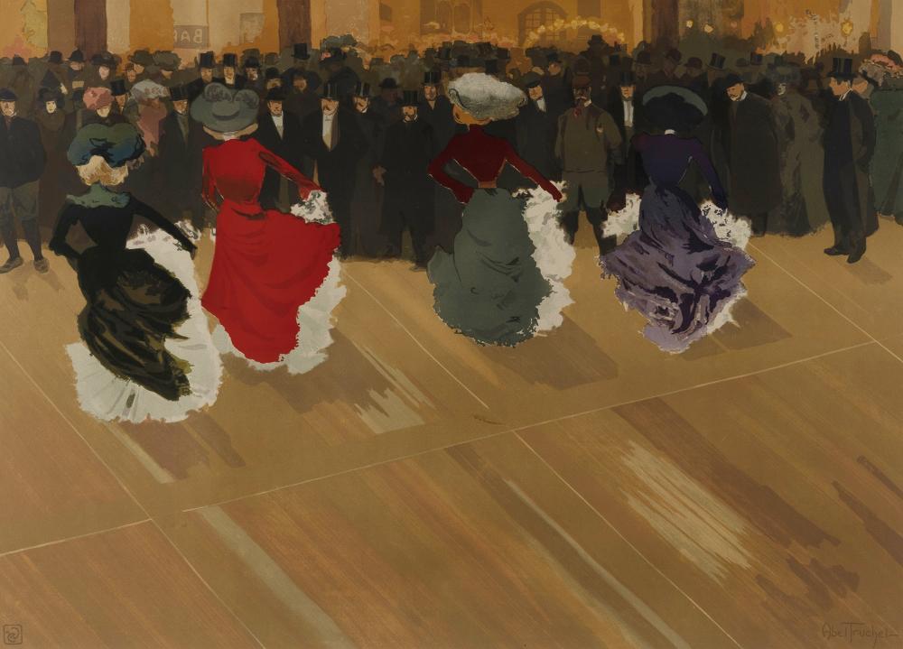 ABEL-TRUCHET Louis (French 1857-1918), 'La Quadrille,' 1900., Colour Lithograph, 51.5x71.5cm (sight)