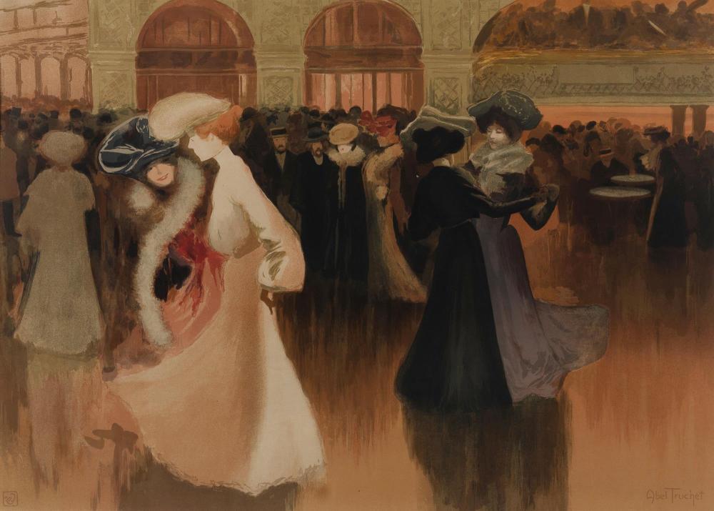 ABEL-TRUCHET Louis (French 1857-1918), 'Les Danseuse (The Dancers),' 1900., Colour Lithograph, 51x71.5cm (sight)