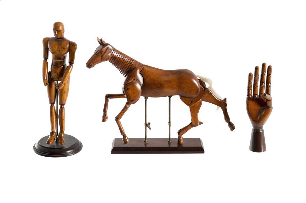 3 Various Articulated Artists Mannequins. Male figure (H39cm); horse (H34cm); & hand (H26cm). PROVENANCE: Estate Late John...