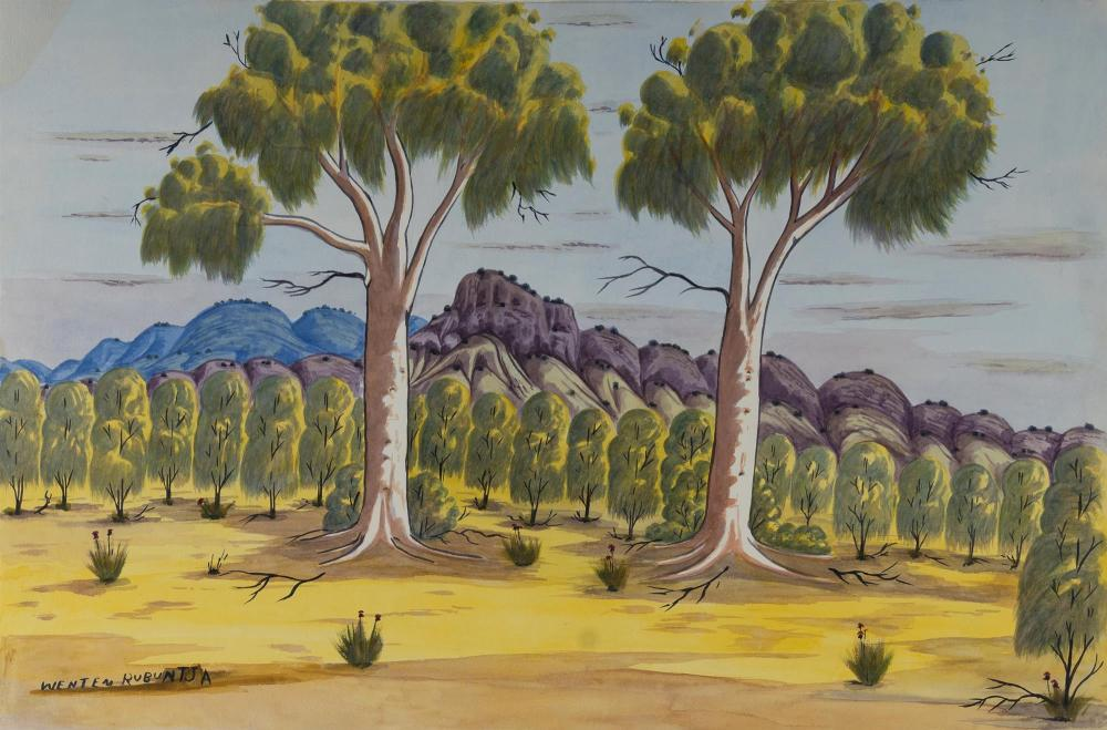 RUBUNTJA Wenten (1926-2005), Two Gums & Mountain Range, Central Australia., W/Clr, 49x74cm