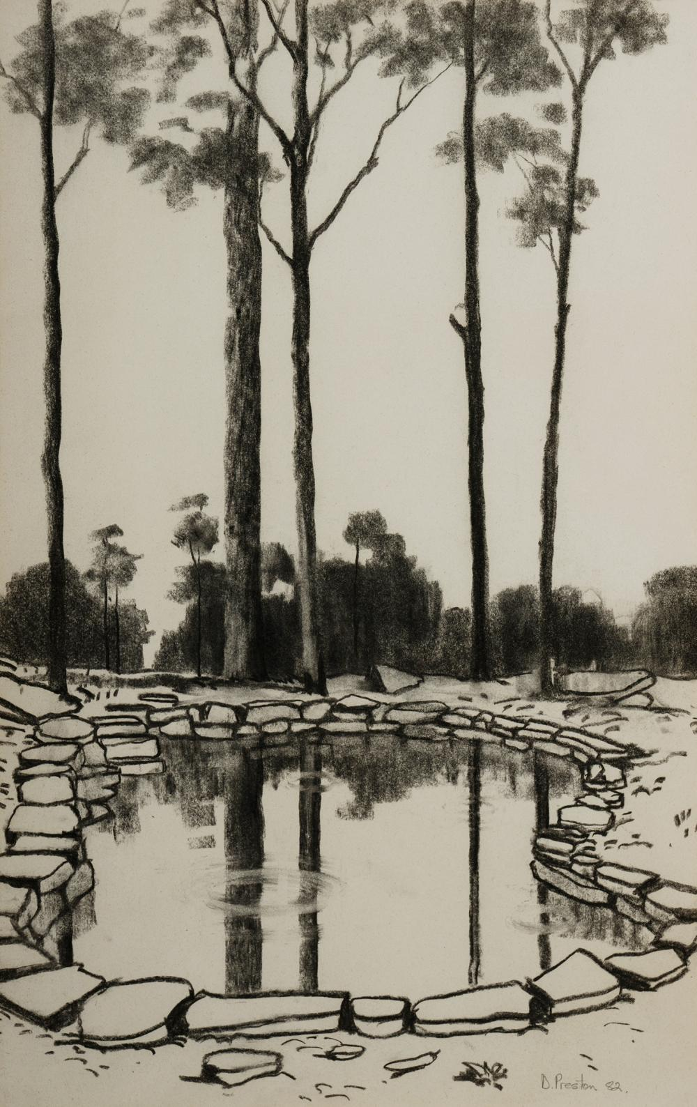 PRESTON David (b.1948), Rock Pool, 1982., Charcoal, 57x36cm