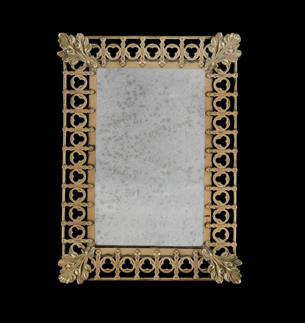 Victorian Gothic Brass Framed Mirror. Bevelled plate mirror in a pierced frame Composed of trefoils with cast foliate corners.R...