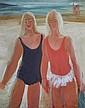 PENBERTHY, Wesley (b.1920) Girls at the Beach Oil