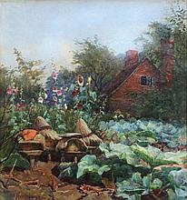 HANSON, Albert (1866-1914) 'In a Cottage Garden,'