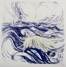 WHITELEY Brett (1939-1992), 'Bird and Wave,' 1974., Colour Screenprint & Lithograph, Printed in Three Colours 37/60, 66.5x67cm (imag.