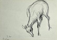 FRIEND, Donald (1915-1989) Deer Feeding, Bali Ink