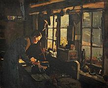 LEIST, Fred (1878-1945) The Shoemaker Oil on