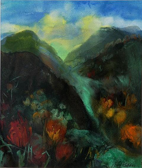 KUBBOS, Eva (b.1928) 'Stream in the Hills' Gouache