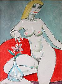 KEMBLE, Herbert Nude Seated on Red Couch Acrylic