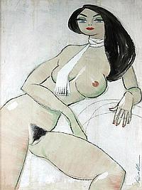 KEMBLE, Herbert 'Lenore -' Seated nude with white