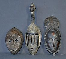 3 Various West African Dance Masks. Carved &