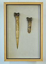 2 Various PNG Bone Daggers. Incised hafts, 1 with