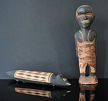 2 Aboriginal Carved Figures. Standing man with