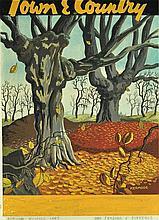 KERMODE, William Archer (1894-1959) Autumn Trees. Cover design for Town & Country, Autumn 1947. Title trimmed. Gouache 38x28cm