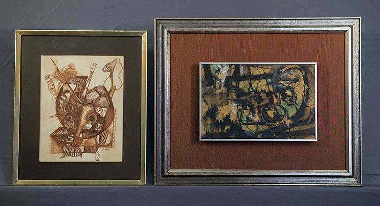 ROSE, Joe (1915-1999) (2)  Two Untitled Works.  Mixed media abstract; & conte interior.  Various (2)  17.50x26.50cm & 25x19cm