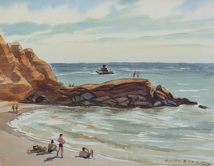 ANGELO, Leith (1904-2000)  'Bathers at Red Bluff, Port Phillip Bay, Vic,' 1958.  Titled & inscribed by artist verso.  W/Clr  29x38cm