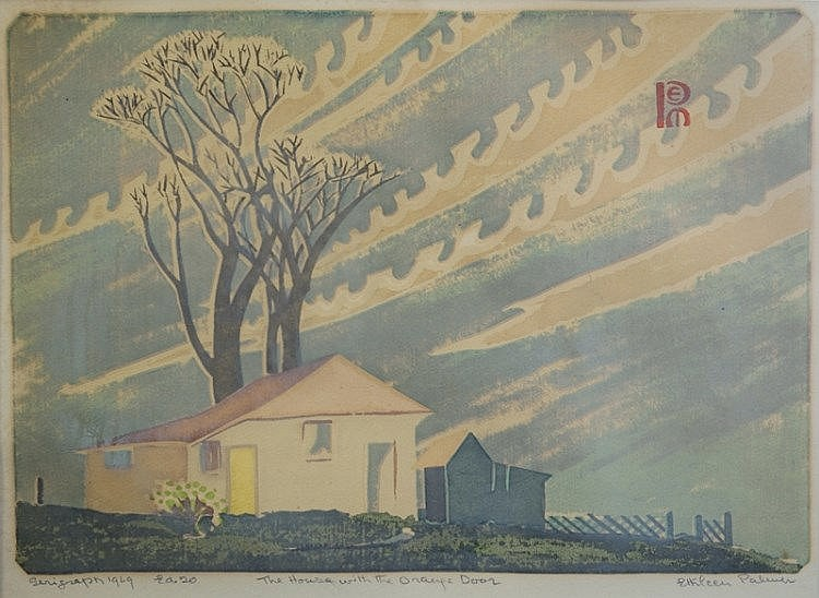 PALMER, Ethleen (1906-1958)  'The House with the Orange Door,' 1949.  Original catalogue dated 1980 available.  Serigraph ed.20  25x36cm