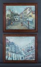 FOREAU, Louis Henri (French 1866-1938) (2) - Winter Street, Paris (39x49cm); & Parisian Street Scene (39x49cm).