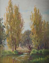 LANGKER, Erik (1898-1982) - 'A Quiet Little Spot.'  Ex artist's estate, unsigned, certificate verso.