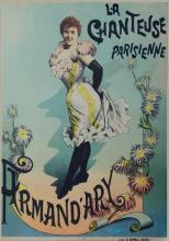 French Music Hall Poster.  'La Chantouse Parisienne, Armand'ary.' Later lithograph of fin de siecle poster by Weyl.