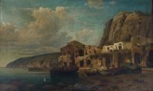 MEVIUS, Hermann (German 1820-1864) - Mediterranean Village, 1863. Signed & dated lower centre.