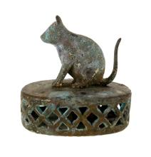 18th/19th C Indian Bronze Vajris (Foot Scrubber).  Cat form finial with mottled patina.