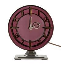 English Art Deco Elec Table Clock.  Purple mirrored face, on chrome base. Untested.