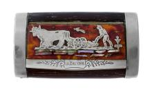 French Tabatiere 'La Bretonne'.  Snuff box with tortoiseshell lid overlaid with figure of a farmer ploughing,