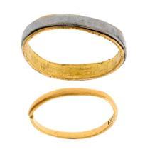 2 18ct Distressed Wedding Rings