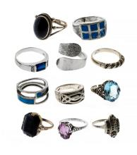 11 Var Silver Rings.  Set with natural & synthetic stones.