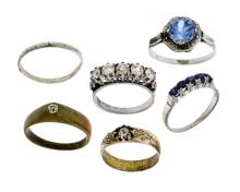 6 Var  Rings.  5 silver; & 1 other. All set with various stones.