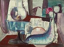 KEMBLE, Herbert (1894 - ?) 'Still Life with Lamp & Fish' Oil on B